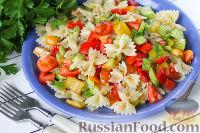 Фото к рецепту: Салат из овощей, с макаронами