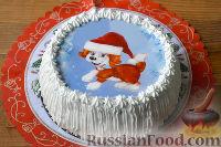 """Фото к рецепту: Торт """"Птичье молоко"""" с вафельной картинкой"""