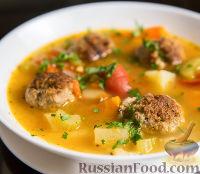 Фото к рецепту: Суп с фрикадельками из говяжьего фарша и овощами