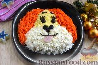 """Фото к рецепту: Салат """"Собачка"""" с  копченым мясом и сыром"""