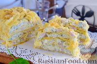 """Фото к рецепту: Закусочный """"Наполеон"""" с сыром, ветчиной и ананасом"""