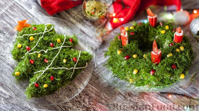 """Фото к рецепту: Новогодний салат """"Рождественский венок"""" и """"Ёлочка"""""""