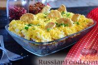 Фото к рецепту: Слоеный cалат с тунцом и крекерами