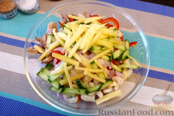 Фото приготовления рецепта: Мясной салат со сладким перцем - шаг №14