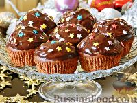 Фото к рецепту: Шоколадные кексы с вишневым джемом и орехами
