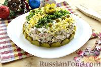 Фото к рецепту: Салат с тунцом, рисом и зеленым горошком