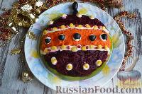 """Фото к рецепту: Слоеный салат """"Новогодняя игрушка"""" с печенью трески"""