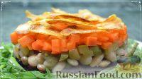 Фото к рецепту: Слоеный винегрет с картофельными чипсами