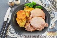 Фото к рецепту: Свинина, запеченная в молочно-горчичном соусе, с картофелем