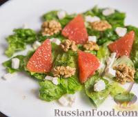 Фото к рецепту: Салат с грейпфрутом, фетой и грецкими орехами