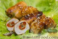 Фото к рецепту: Куриные рулетики с грибами, сыром и болгарским перцем