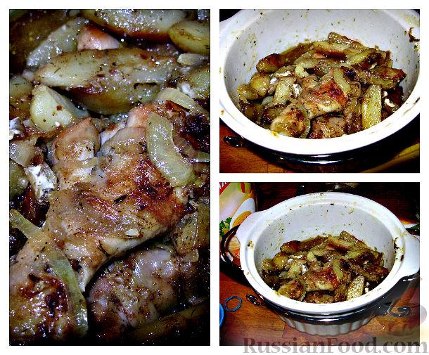 Рецепт Картошка с курицей в духовке