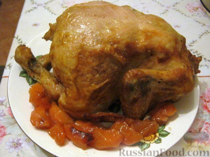Рецепт Запеченная курица, фаршированная айвой