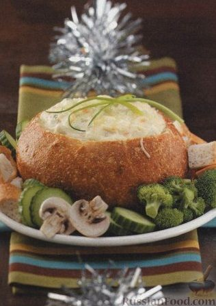 Рецепт Морепродукты, запеченные с сыром в хлебе