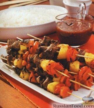 Рецепт Шашлык из мяса, ананаса и болгарского перца