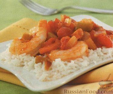Рецепт Овощи с креветками, тушенные в томатном соусе