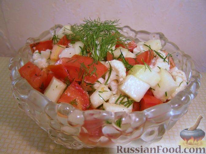 Рецепт Овощной салат с кабачками и цветной капустой