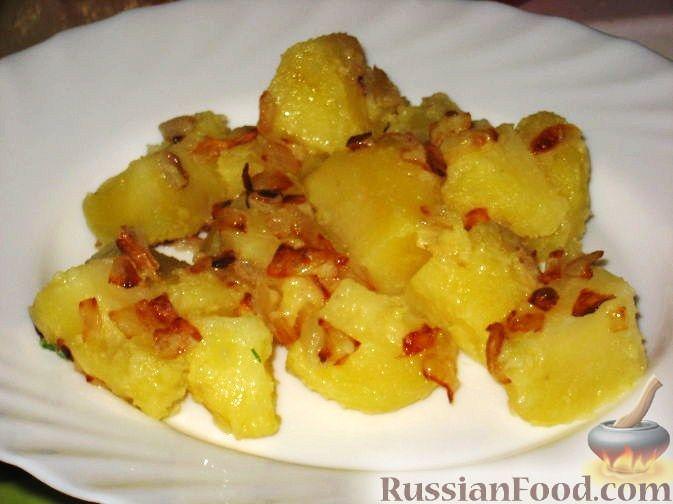 Рецепт Отварной картофель с жареным луком