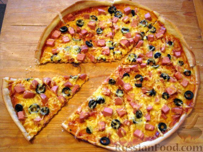 пицца с шампиньонами и колбасой рецепт с фото