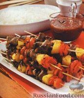 Фото к рецепту: Шашлык из мяса, ананаса и болгарского перца