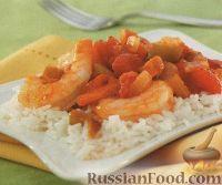 Фото к рецепту: Овощи с креветками, тушенные в томатном соусе