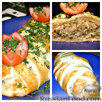 Фото к рецепту: Слоеный рыбный пирог