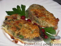 Фото к рецепту: Рыба жареная с зеленью и чесноком