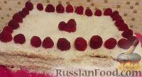 """Фото к рецепту: Торт """"Нежность ангела"""" с малиновой прослойкой"""
