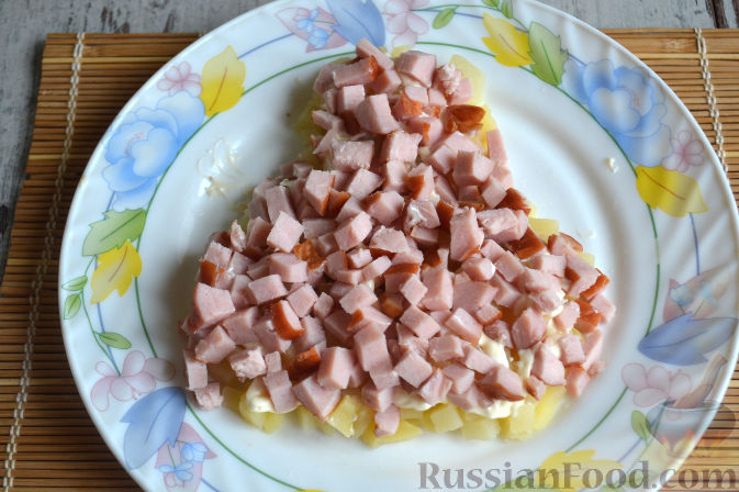 Фото приготовления рецепта: Салат с копченой курицей - шаг №8