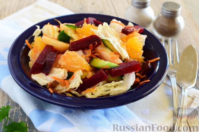 Фото к рецепту: Овощной салат с мандаринами