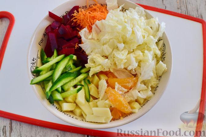 Фото приготовления рецепта: Овощной салат с мандаринами - шаг №8