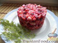 Фото к рецепту: Винегрет с фасолью и солеными огурцами