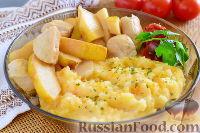 Фото к рецепту: Курица с айвой и картофельно-морковным пюре