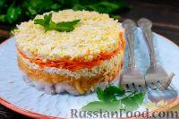 Фото к рецепту: Французский слоеный салат с яблоком, морковью и яйцами