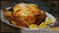Фото к рецепту: Запечённая курица, фаршированная яблоками, в томатно-медовом соусе-маринаде