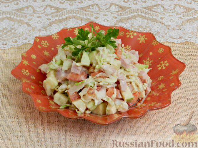 Фото приготовления рецепта: Салат с копченой курицей и яблоком - шаг №10