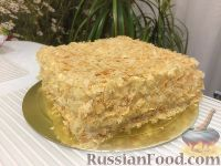 """Фото к рецепту: Торт """"Наполеон"""" из готового слоеного теста"""