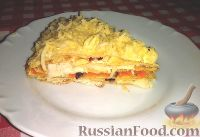 Фото к рецепту: Закусочный блинный торт с курицей и грибами