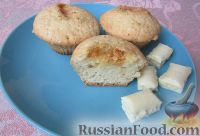Фото к рецепту: Кексы на сметане, с белым шоколадом