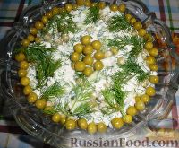 Фото к рецепту: Салат «Леди» с курицей, огурцами и горошком