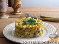 Фото к рецепту: Салат с курицей и жареными грибами