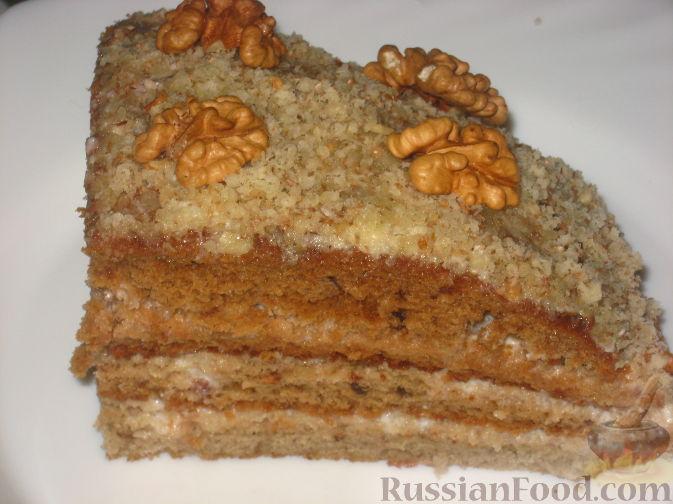 Рецепт Ореховый торт с творожным кремом