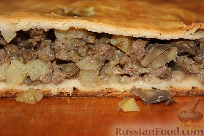 Рецепт Пирог с мясом утки, картофелем и грибами
