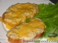 Фото к рецепту: Гренки с куриным фаршем