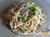 Фото к рецепту: Спагетти в сливочном соусе