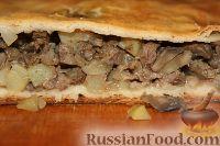 Фото к рецепту: Пирог с мясом утки, картофелем и грибами
