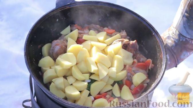 Фото приготовления рецепта: Шурпа в казане на костре - шаг №13