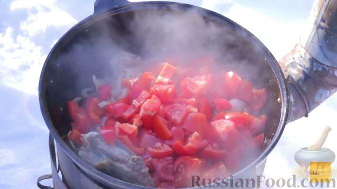 Фото приготовления рецепта: Шурпа в казане на костре - шаг №11