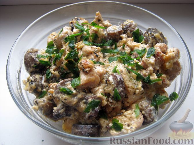 Рецепт Куриные грудки с грибами и сыром
