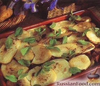 Рецепт Картофель, запеченный с бараниной в духовке